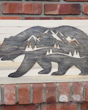 Baltic Birch Bear Plaque